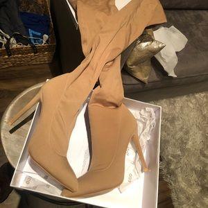 Tan thigh high boots